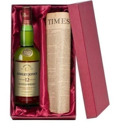 Personalised 12 Year Old Malt Whisky and Newspaper Gift Set