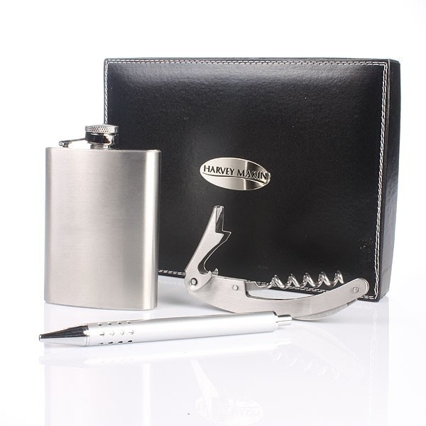 Personalised Hip Flask and Pen Gift Set