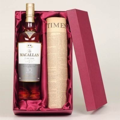 Personalised Macallan Malt Whisky and Newspaper Gift Set