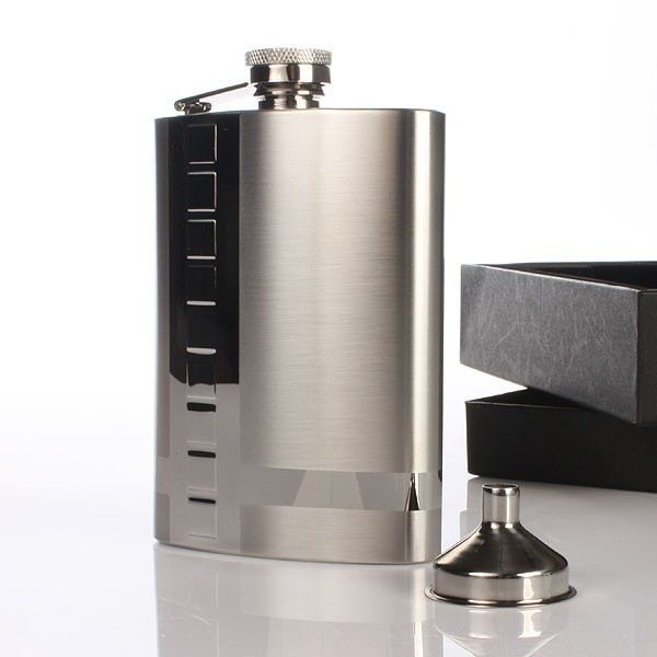Personalised Stainless Steel Hip Flask with Cube Design