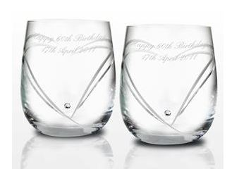 Personalised Swarovski Heart Whisky Glasses