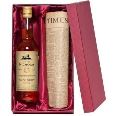 Personalised Single Malt Whisky and Newspaper Gift Set
