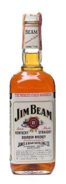 Jim Beam White Label bourbon whisky bottled in the 1980s