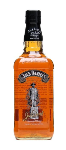 Jack Daniel's whisky Oregon's 150th Birthday commemorative bottle